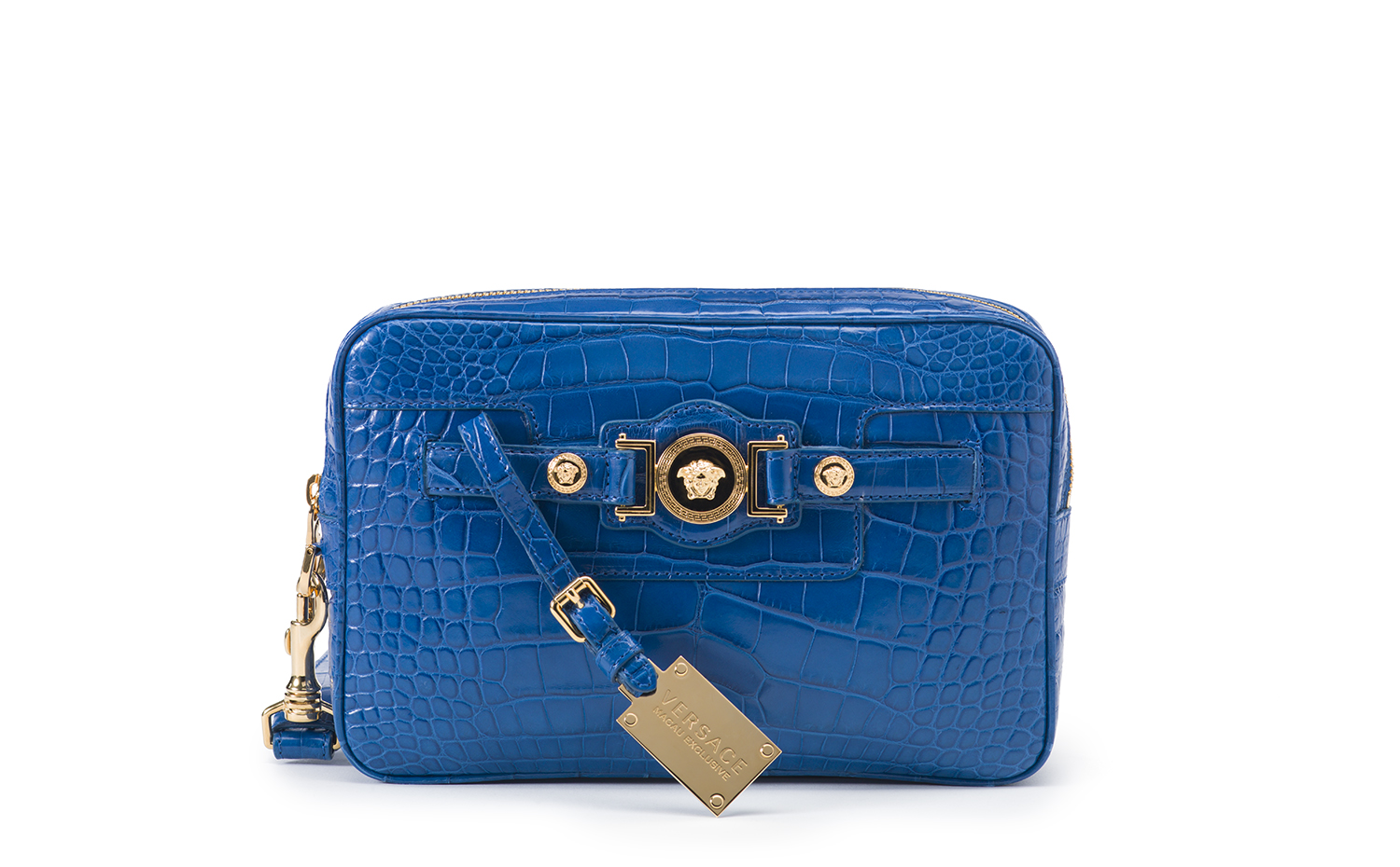 VERSACE PALAZZA HANDBAG BLUE ALLIGATOR